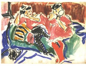Ernst Ludwig Kirchner, Two Women at a Couch.